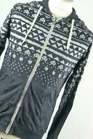Fabric Grey Graphic Cotton Mens Hoodie Size S