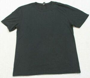 Anvil Blue Crewneck Solid Tee T-Shirt Top Short Sleeve Cotton Blend Mens Large