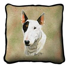 """""""Bull Terrier"""" Tapestry Accent Pillow, 17""""x17"""", Robert May, Pure Country"""