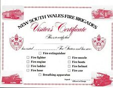 Vintage  NSW Fire Brigade Visitors Certificate Unused