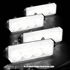 White 16 LED High Power Exterior Grille Warning Hazard Strobe Light Set
