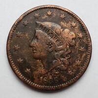 1836 Coronet / Matron Head Large Cent N-1 Die Crack
