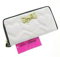 """8x4"""" Betsey Johnson Quilted Heart Wallet Gold Bow Cream-White Black Zip Around"""