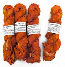 100g Recycled Sari Silk Ribbon Yarn, Jewelry Making Trim - Orange