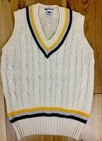 Vntg Pure New Wool 40'' 102cm Mens V Neck Chunky Knit Queen Cricket Classic Vest