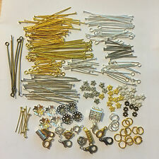 Bead kit - findings; swarovski, wooden, glass; clasps; chain; eye, head pins;