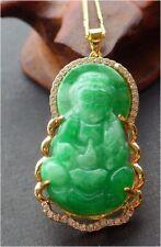 Gold Plate Green Jade Imitation Diamond Guanyin Kwan-yin Buddha Pendant Necklace