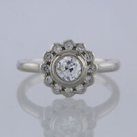 Vintage Diamond Daisy Cluster Ring 18ct White gold Size M