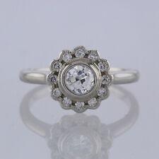 Vintage Diamante Daisy Cluster Anillo 18ct Oro Blanco Talla M