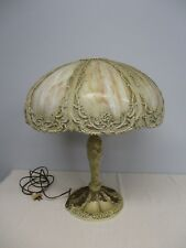 ANTIQUE BRADLEY & HUBBARD SLAG GLASS TABLE LAMP w ART NOUVEAU FLORAL BASE