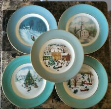 Avon Wedgwood Christmas Plates Vintage 1974 1973 1976 1978 1980 Lot of 5