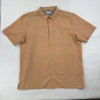 Columbia Mens Orange Check Short Sleeve Button Up Shirt Size XL