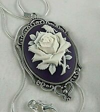 WHITE ROSE Purple CAMEO Silver PENDANT NECKLACE Vtg Insp 925 Silver pltd Chain