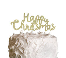 Glittery Happy Christmas Cake Topper - Swirly Glitter Gold Xmas Cake Topper
