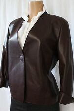 Akris Punto  Leather Jacket, Adjustable Waist Dark Brown, Size 10 $2,300