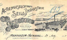 AG für Seil-Industrie F. Wolff Mannheim Neckarau Rechnung 1908 Seilwolff A.A.A.