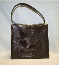 "Vintage 50's 60's Brown Vinyl Snake Skin Gold Tone Purse Clutch Handbag - 10"" W"