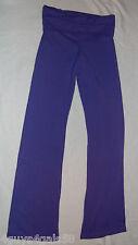JR Womens Stretch Pants PURPLE Pull On BELL LEG Fold Down Top S 3-5 Derek Heart