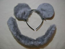 Light Grey Mouse Rat Ears And Tail Set Instant Fancy Dress One Size Fits All