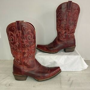 Ariat ALABAMA Women's Red Leather Sz 8.5B Snip Toe Cowboy Boots Style 10010978