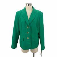 Evan Picone Blazer Jacket Bahama Green Career Black Label Nwt Women's Size 18