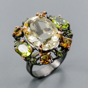12ct+ Fine Art Citrine Ring Silver 925 Sterling  Size 8.5 /R156435