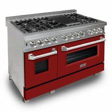 "Zline 48"" Dual Fuel Range Oven Gas Electric Stainless Red Matte Door Ras-Rm-48"