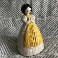 Vintage Ceramic Corn Husk Doll Girl Scrubber Soap Holder Container Yellow Apron