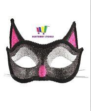 GLITTER CAT MASK FANCY DRESS ACCESSORY HALLOWEEN SPARKLE ADULT KIDS PARTY HEN DO