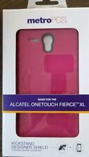 Metro PCS Alcatel Onetouch Fierce XL kickstand case screen protector pink/gray