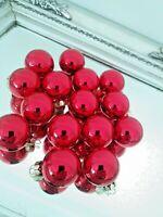 "15 Red Glass Feather Tree Ornaments   1"" Miniature Mini Christmas Tree Decor"