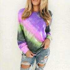 US Women Oversized Gradient Tie Dye Long Sleeve Tops Pullover Sweatshirt T-Shirt
