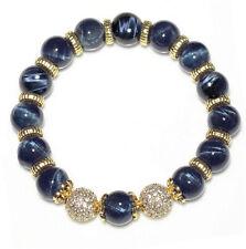10mm Blue Tigereye Round Beads Heated Bracelet BBYF14