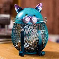 Tooarts Money Cat Kitty Piggy Bank Coin Saving Box Case Gift Metal Craft Decor