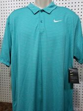 Mens Nike Dry Polo Shirt New Green Striped Short Sleeve Size Xl