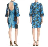 Tracy Reese Anthropologie Body Con Blue Floral Bell Sleeve Dress Sz 10 $348 NEW