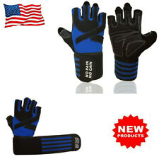 Weight Lifting Gloves Long Wrist Wrap Padded Strength Training Gym Workout Blue