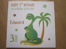 Personalised Handmade Boys Dinosaur Birthday Card - 3rd 4th 5th 6th, Any Age