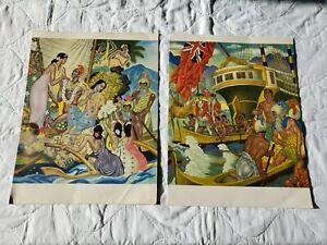 2 Vintage Matson Cruise Lines E. Savage 1954 & 1955 menus S.S. Lurline