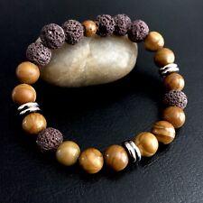 Men's Natural Jasper Gemstone Beaded Bracelet Sterling Silver Jewelry