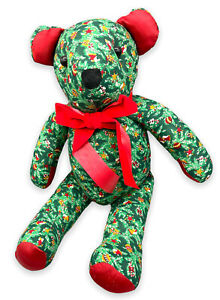 Vintage Christmas Tree / Evergreens Patterned Stuffed Teddy Bear Wearing A Bow