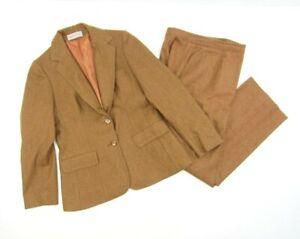 Vintage Evan Picone Orange Brown Wool Blend Women/'s Blazer Pant Suit Set Size 8