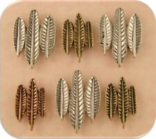 2 Hole Beads Feathers Bird Wings ~ Antique Finish 3T Metal Jewelry Sliders QTY 6