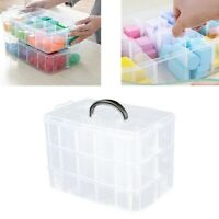 Stackable Storage Box 3-tier Craft Organizer Clear Compartment Containers Safety