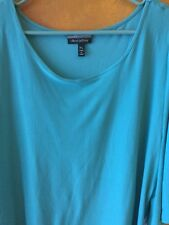 Allison Brittney Woman's Soft Shoulder Cut Out Top NWT Teal Retail $28.00