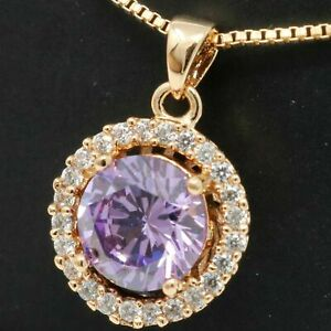 3.50 Ct Round Cut Amethyst Moissanite Halo Womens Necklace 14k White Gold Finish