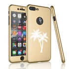 For iPhone 360° Full Body Thin Slim Case Cover + Screen Protector Palm Trees
