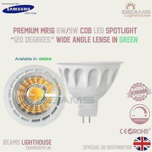 MR16 GU5.3 6W/9W Dimmable 12V DC 120⁰ COB LED Spotlight Light Bulb GREEN 🇬🇧