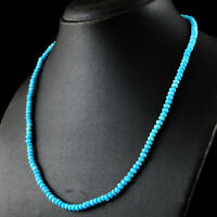 100% Genuine 76.50 Cts Natural 20 Inches Turquoise Round Cut Beads Necklace (DG)