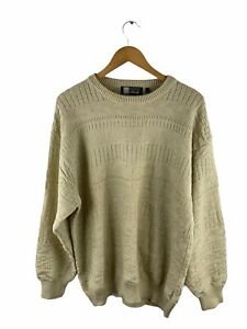 VINTAGE Henry Morell Knit Jumper Mens Size L Brown Long Sleeve Pullover Sweater